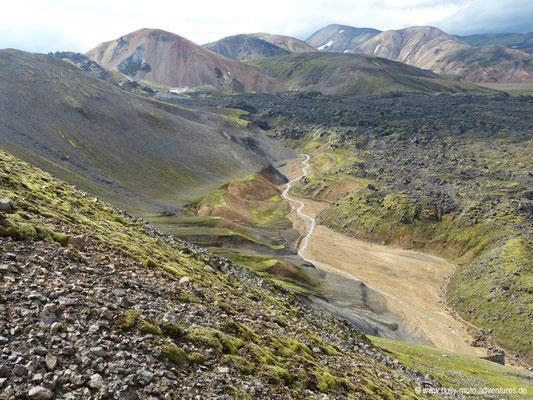 Island - Laugavegur - Landmannalaugar - Blick in die Schlucht Grænagil