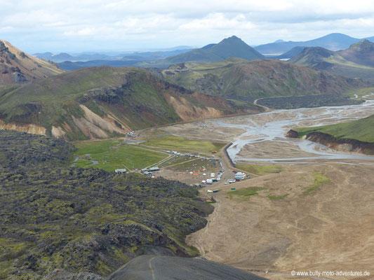 Island - Laugavegur - Landmannalaugar - Blick auf den Campingplatz