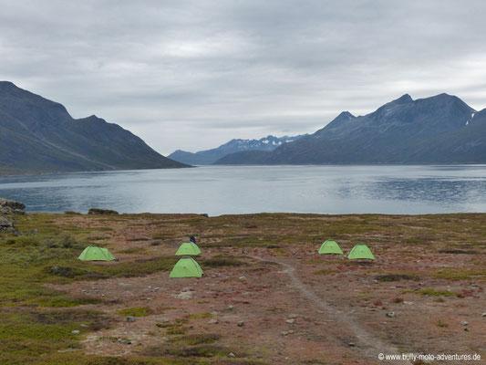 Grönland - Zeltcamp im Tasermiut Fjord - Blick auf den Fjord