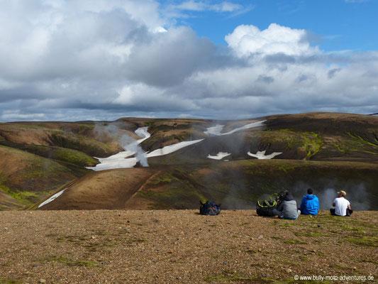 Island - Laugavegur - Rast bei bester Aussicht