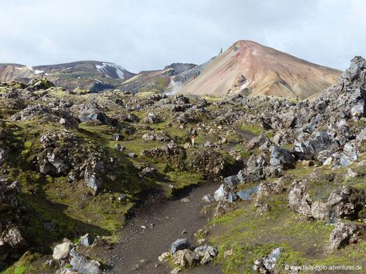 Island - Laugavegur - Etappe 1 - Landmannalaugar nach Hrafntinnusker - Lavafeld Laugahraun