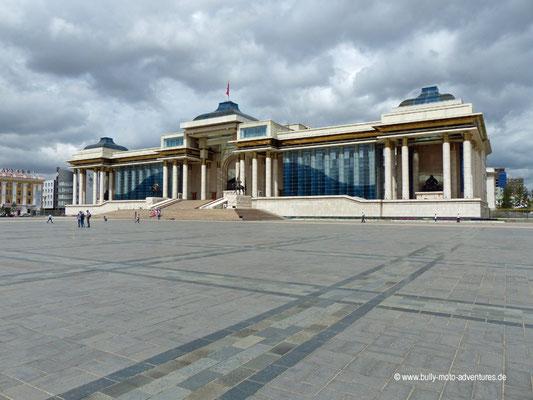 Mongolei - Ulaanbaatar - Sükhbaatar Platz - Parlamentsgebäude
