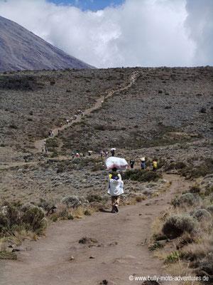 Tansania - Besteigung des Kilimanjaro - Marangu Route - Versorgungskarawane