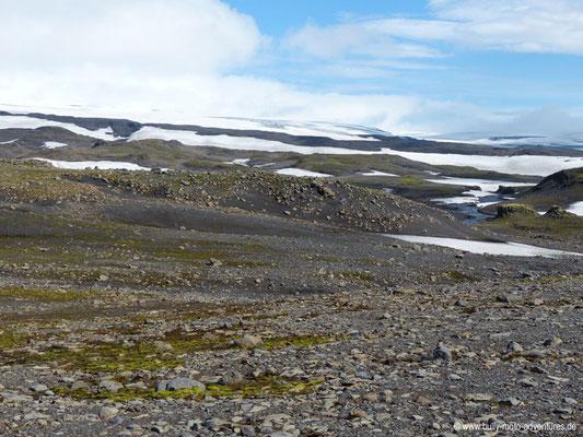 Island - Fimmvörðuháls - Etappe 2 - Fimmvörðuskáli nach Skógafoss - Blick auf Mýrdalsjökull