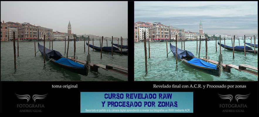 Felip transformo mediante el procesado RAW esta magnifica fotografía de su viaje a Venecia .Curso de Revelado RAW y procesado por zonas.
