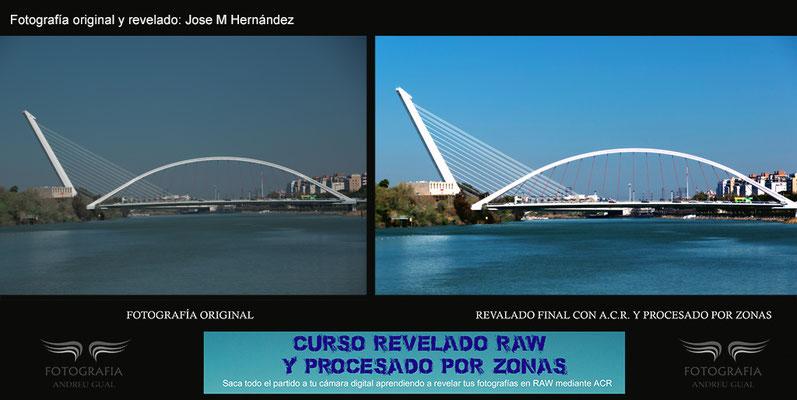 Jose  Maria tras el curso de revelaqdo RAW hizo esta spectacular recuperacion de informacion de un puente de Sevilla.