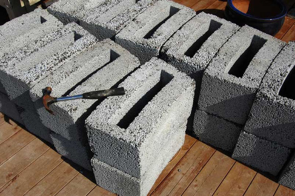 Curved cinder blocks, outer diameter 3.5 meters, inner diameter 3 meters.