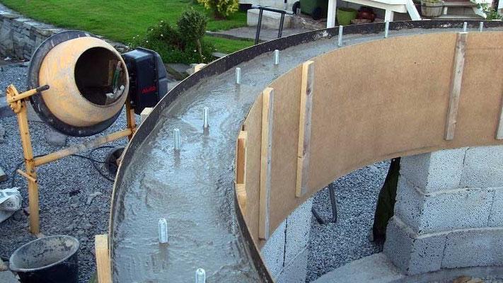 Ca 5 cm med betong støpes først. Overflaten blir gjort vater med avretningsmasse etter betongen er stivnet.
