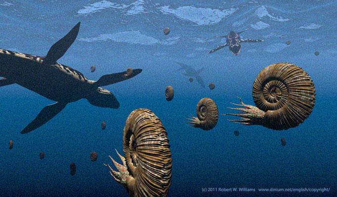 The pliosaur Liopleurodon feed upon the ammonite Perisphinctes in the Late Jurassic ocean in northern Europe.