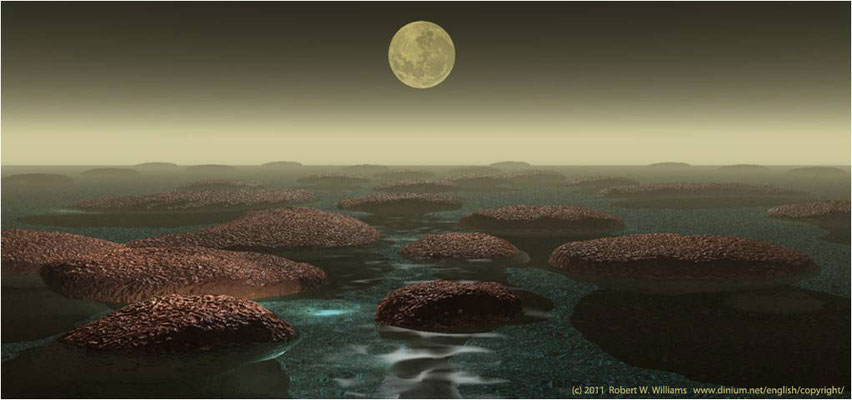 Cyanobakterier danner steinputer (stromatolitter) i grunnvannet langs stranden i Arkeikum, for tre milliarder år siden.