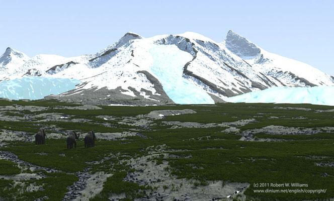 Pleistocene landscape, forty thousand years ago.