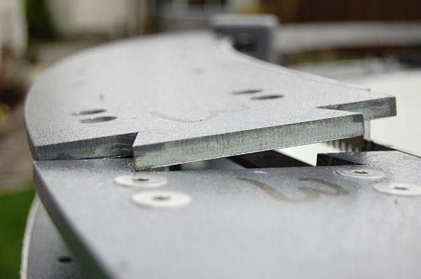 Dette segmentet av rotasjonsringen er konisk bøyd. Stålet er 10 mm tykk.