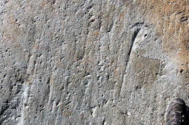 The telescope pier is cast on basement rock. This consists of granitic gneiss, 1.5 billion years old. Glacial striations from the last ice age, trace westward (upward on photo). Scale indicated by shoe.