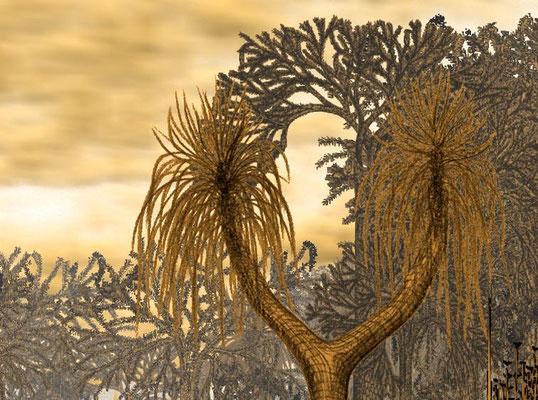 Detalj av Sigillaria med Lepidodendron i bakgrunnen. Sigillaria er tegnet i trekull, og Lepidodendron i pen og blekk.