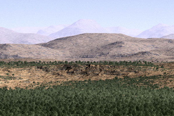 Detail of the previous illustration. Archeopteris and Eospermatopteris trees clad the edge of an alluvial plain that comprises the oldest sediments of the present-day North Sea Basin. These were the first tree-forming plants to evolve.