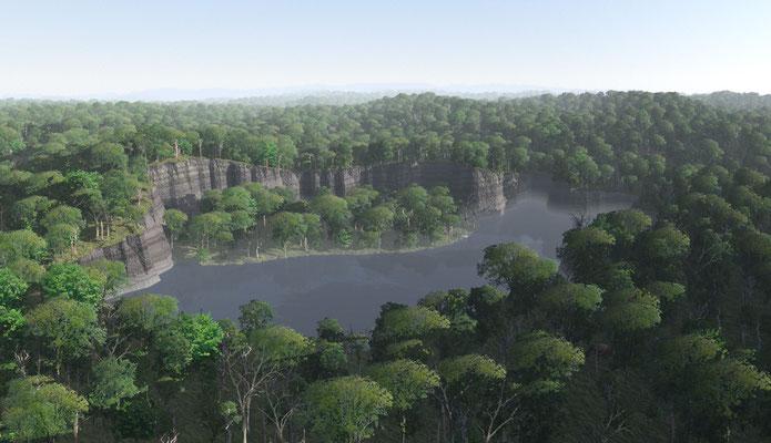 Rekonstruksjon av Gray Fossil Site i Tennessee. Dette er et synkehull av miocen alder.