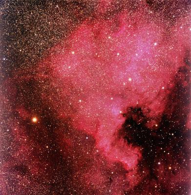 NGC 7000. Date: 5 Sept 2016, Loc: Rennesøy, Norway, Telescope: Esprit 120 ED, Camera: Apogee Alta U16M, Mount: ASA DDM160, Exposure: LRGB 6/6/6/6 min, Photographic field is 2.5 x 2.5 degrees.