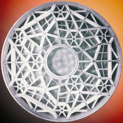 Dream Cellular borosilikat teleskopspeilemne. Diameter = 620 mm, tykkelse totalt = 73 mm, overflate tykkelse = 9,4 mm, masse = 17 kg