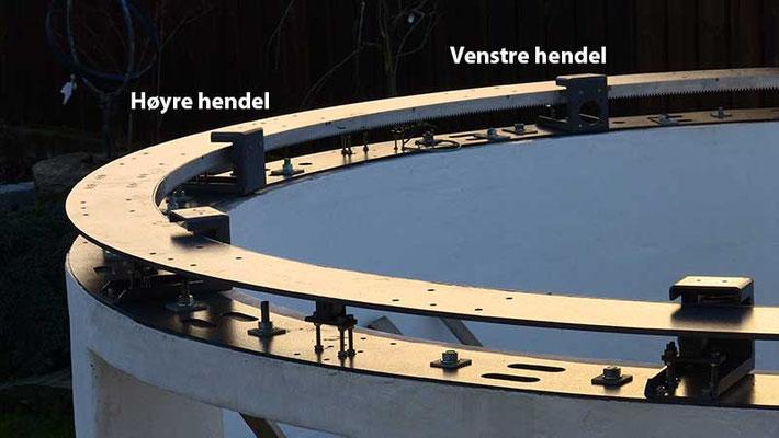 For å kvantifisere avviket fra planhet ble høydemål tatt på 32 punkter jevnt fordelt over ringen.Dette ble målt på hendelen der kuppelens drivmotor er montert og på hendelen ved siden av.