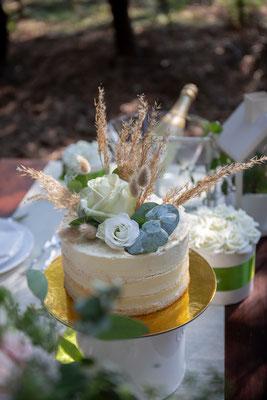 Elopement, Hochzeit im Wald, freie Trauung, Mikrohochzeit, heiraten zu zweit, verlobt, heiraten, Braut, Bräutigam, Hochzeitstorte