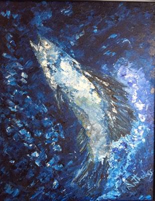 The Blue Fish - oil by Ernest Antholis