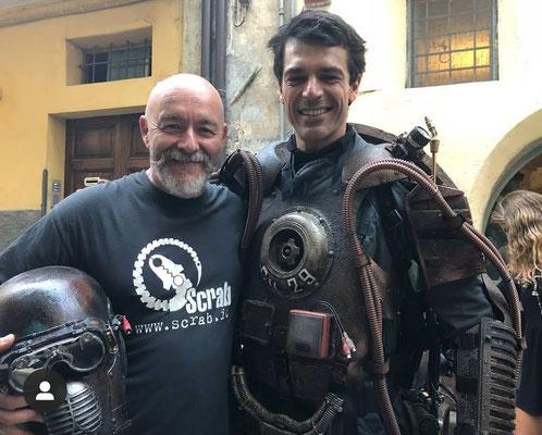 sul set di Copperman con Luca Argentero - luglio/agosto 2018