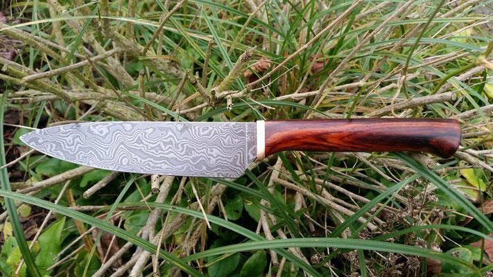 130 Lagen Wilder Damast, Cocobolo Holz mit Bronze Einlage