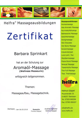 Zertifikat Aromaöl Massage