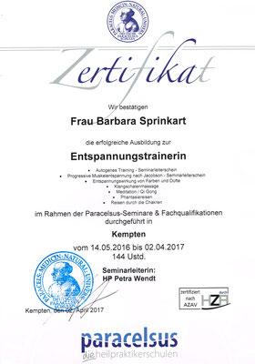 Zertifikat Entspannungstrainerin