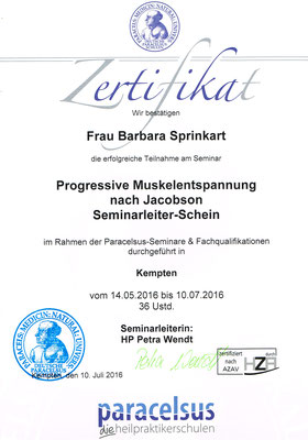 Zertifikat Progressive Muskelentspannung