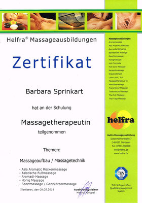 Zertifikat Massagetherapeutin