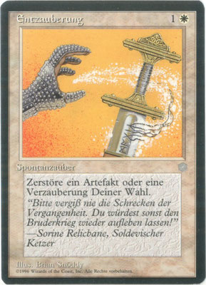 Disenchant German Ice Age. Plains symbol left aligned. Printing plate error in the bottom part of the left black border.