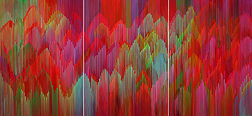 5. 1. 014 a-b-c-, 60 x 150 cm, Acryl auf Leinwand, 2014