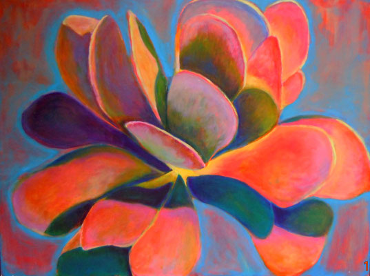 JOY, (Kalanchoe Thrysiflora 1) acrylic on canvas, 30 x 36""