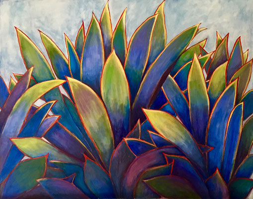 Blue Agave, acrylic on canvas, 48 x 60""