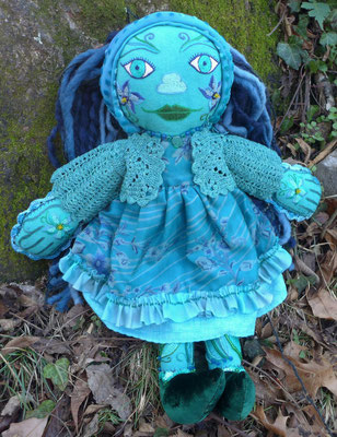 "The Unseelie Girl, Hand embroidery on hand-dyed raw silk, hand crochet. 18"" X 15"" X 3"". $3200"