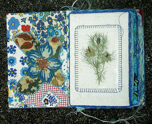 The Blue Flower. Inside front cover and first page. Patchwork, embroidery and crochet with dried flower.