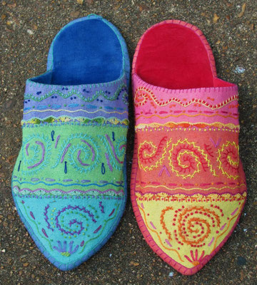 Asymmetrical Slippers. Velvet and hand-dyed raw silk, Hand-sewn and hand-embroidered. Women's size 7. $250.
