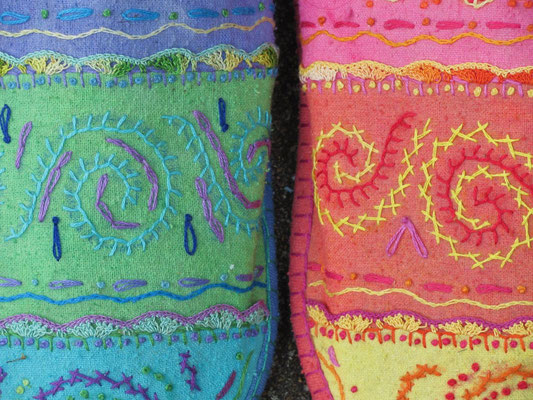 Asymmetrical Slippers. Detail of embroidery.