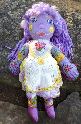 "The Lavender Girl, Hand embroidery on hand-dyed raw silk/mixed media, 18"" X 15"", $1500"
