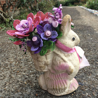 Pink Bunny Bouquet, Mixed Media