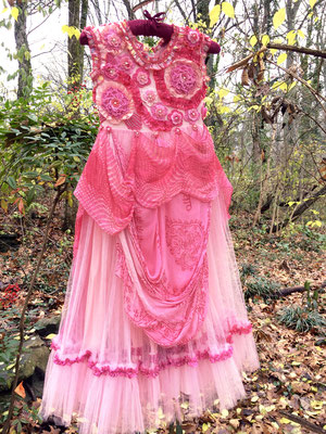 The Great Pink Whale Dress, front. Embroidery, freeform crochet and beadwork on vintage child's dress. $850.