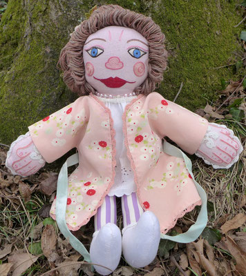 "New Orleans Lady. Artist's Doll. 18"" X 15"" X 3"" $1200."