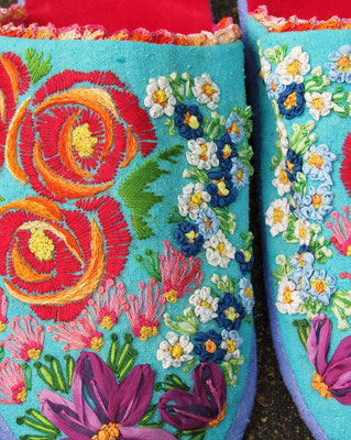 Slippers For Titania. Detail of embroidery.