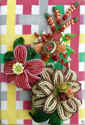 """Mardi Gras Bouquet, Mixed Media (vintage seed beads, vintage glass Mardi Gras beads, Venetian glass beads, micro mosaic earring), 6"""" X 9"""""""
