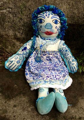 "The Blue-Stained Girl, hand embroidery on hand-dyed raw silk/mixed media. 18"" X 15"", $1500"