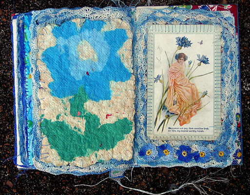 The Blue Flower. Interior pages. Handmae paper, vintage postcard and crochet.