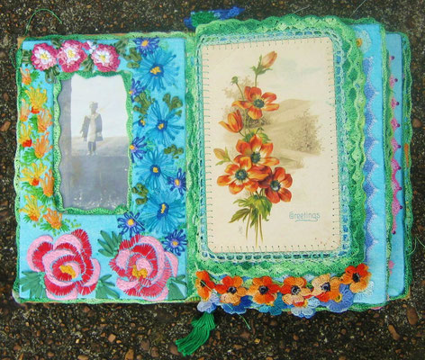 Fanny The Flower Girl. Inside front cover and first page. Vintage photograph, vintage postcard, embroidery, crochet,