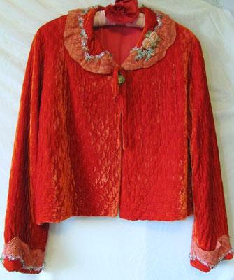 Upcycled Bedjacket. 1940's velvet bedjacket overdyed, beaded and embroidered. Women's size 6. $250.