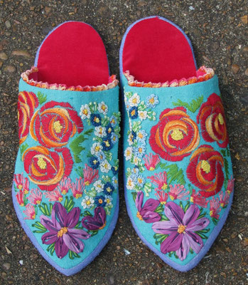 Slippers For Titania. Velvet and hand-dyed raw silk. Hand-embroidery and crochet on raw silk. Women's size 6. $250.